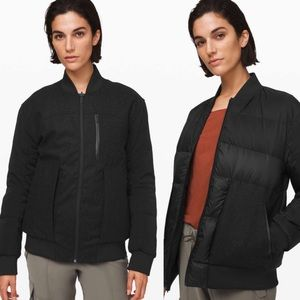Lululemon Black Roam Far Wool Bomber Jacket